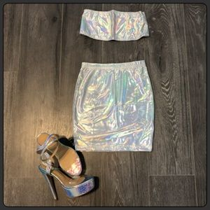 Holographic Skirt and Bandeau Set